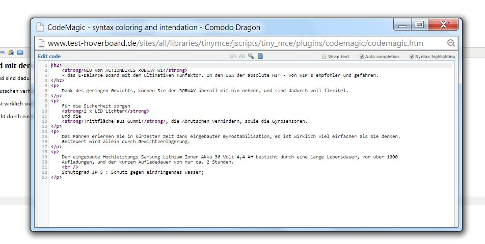 Syntax Highlighting für Quelltext mit wysiwyg_codemagic und codemagic unter Drupal