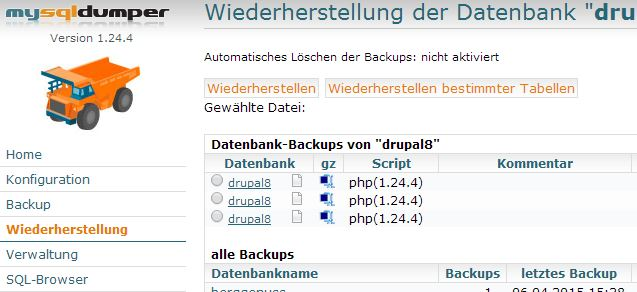 Drupal 6 upgrade auf Drupal 7 Backup